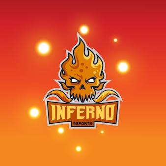 火の頭のマスコットのロゴ