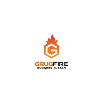 Fire hexagon logo with letter g