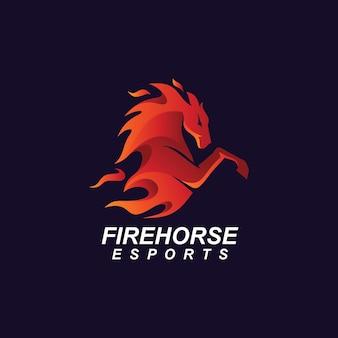 火の馬のマスコットのロゴ