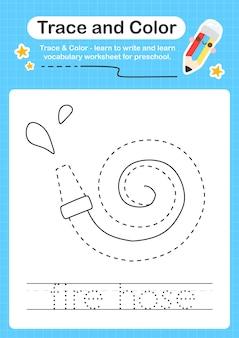 Трассировка пожарного шланга и цветная таблица дошкольного образования для детей для отработки мелкой моторики