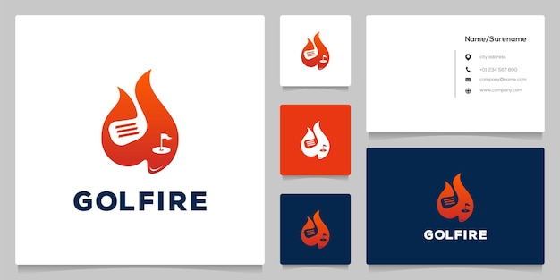 Fire hot golf club and hole field logo design with business card