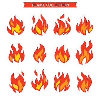 Fire icon set or flame cllection