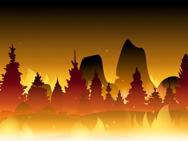 평평한 숲에서 불. 불타는 숲