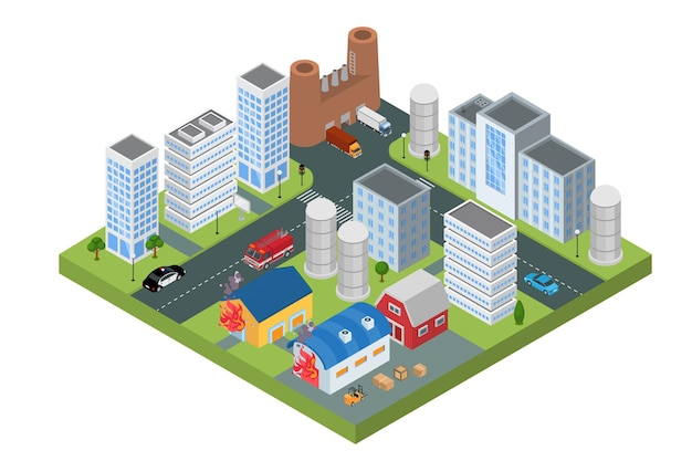 Fire in isometric town concept vector illustration house building in flame flat firefighting emergen...