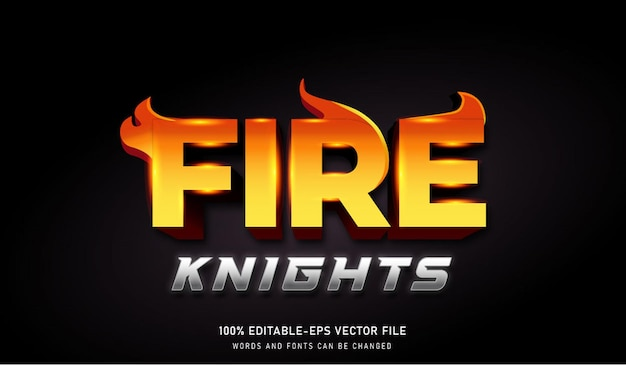 Fire knights text effect редактируемый шрифт