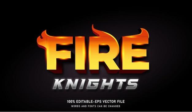 Fire knights 텍스트 효과 편집 가능한 글꼴
