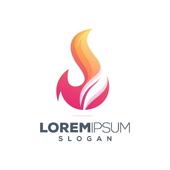 火の葉のカラフルなロゴデザイン
