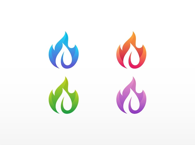 Fire and leaf logo design template
