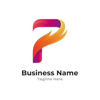 Fire and letter p logo concept template with gradient color