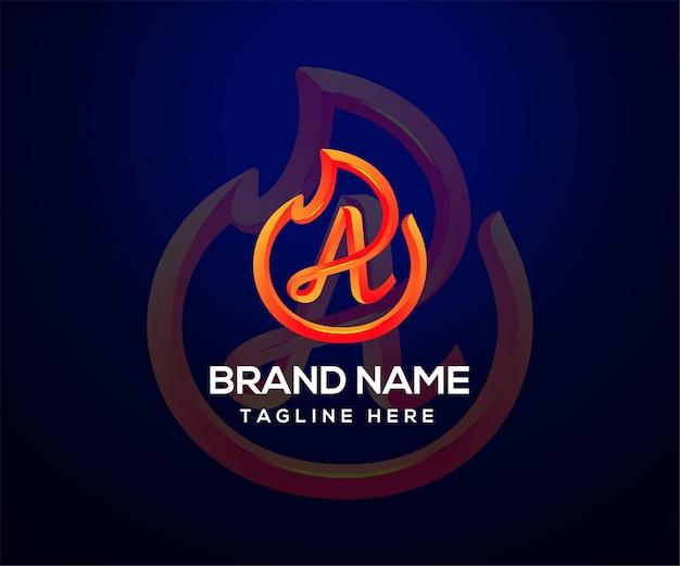 会社とビジネスのための火のロゴと頭文字a