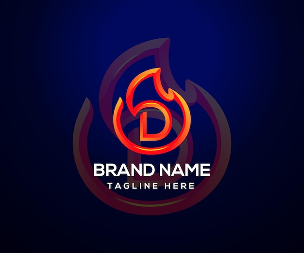 Огонь логотип и буквица d для компании и бизнеса