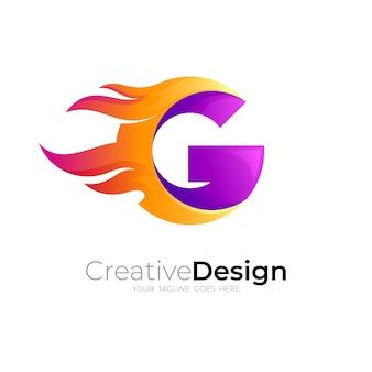火のロゴと文字gのデザインの組み合わせ、速度のアイコン