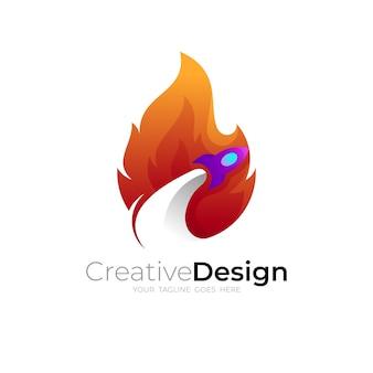 火のロゴとロケットのデザインイラスト、ホットなロゴ、カラフル