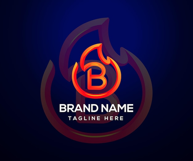 Fire logo and initial letter b for company and business