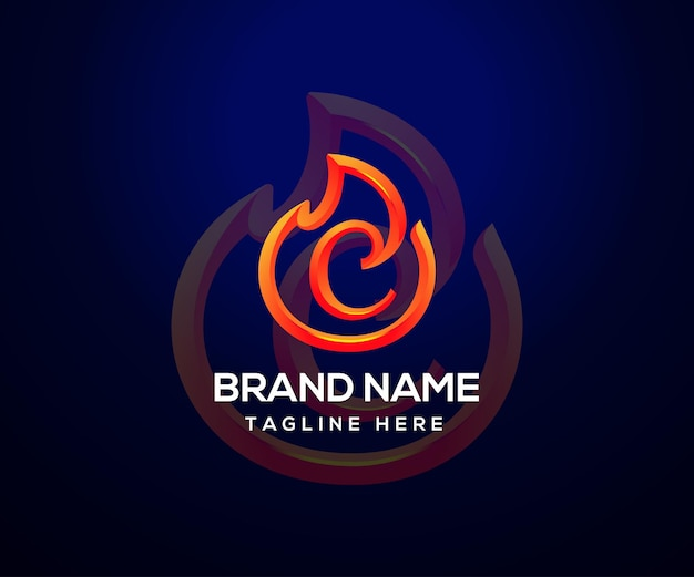 Fire logo and initial letter c for company and business