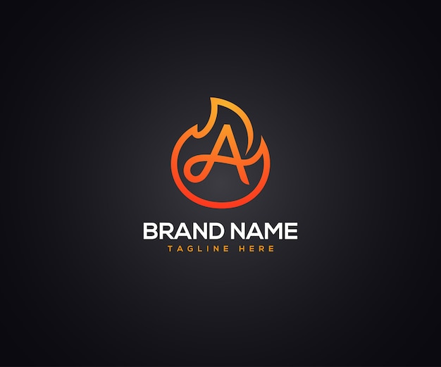 Fire logo and initial letter a for company and business