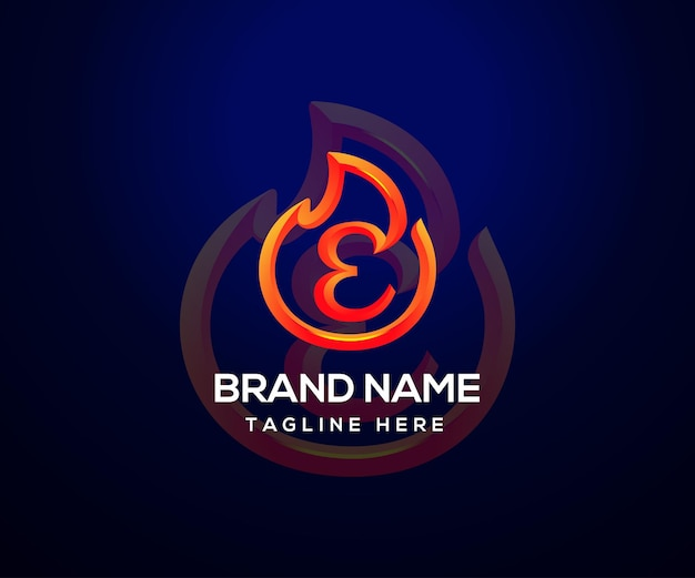 Fire logo and initial letter e for company and business