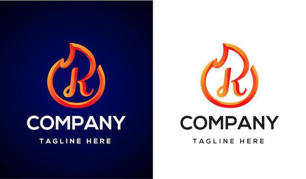 Fire logo letter k 3d