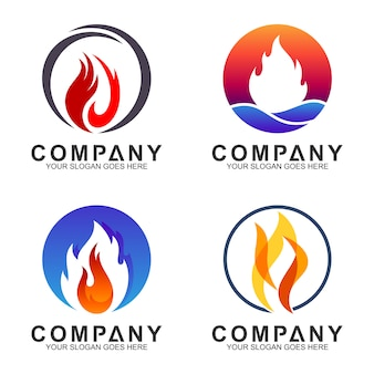 Fire logotype collection in circle shape