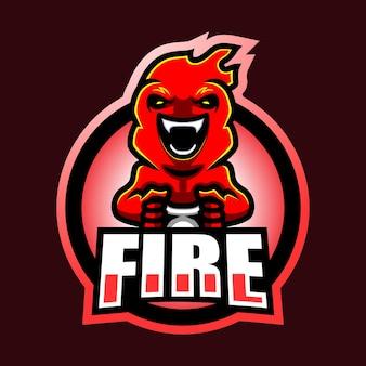 Огненный талисман киберспорт дизайн логотипа