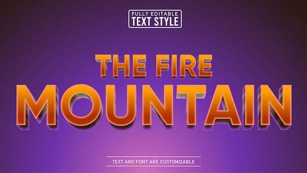 Fire mountain movie and game title editable text effect