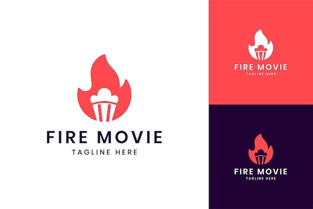 Fire movie negative space logo design