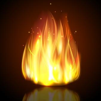 暗い背景に火
