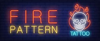 Fire pattern neon text skull on fire