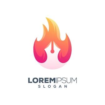 Fire pen concept logo design