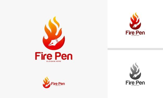 Fire pen logo designs concept, hot pen logo designs template, fire logo designs vector