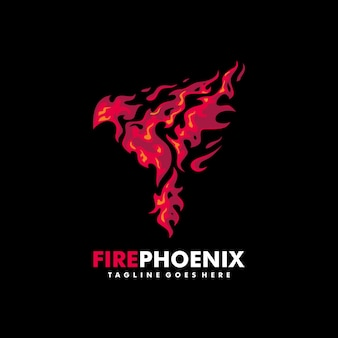 Fire phoenix illustration vector design template