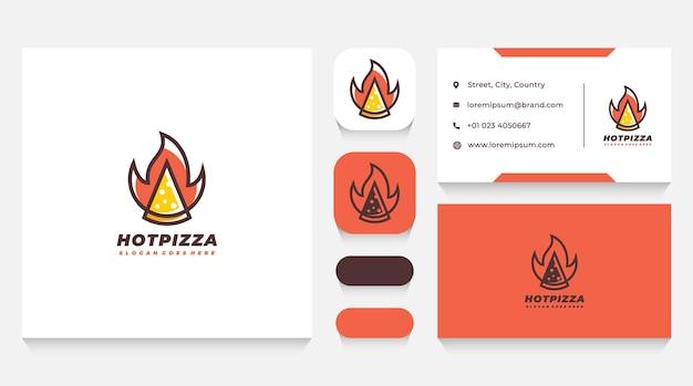 火のピザのロゴのテンプレートと名刺