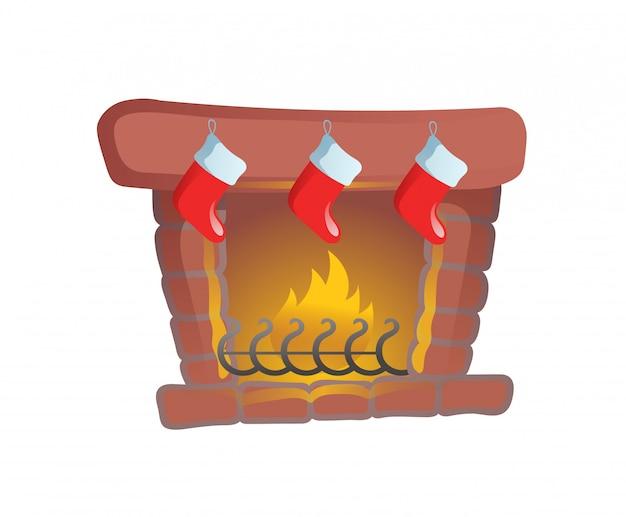 クリスマスのストッキングがある暖炉。漫画のクリスマスカード。図。白い背景の上。