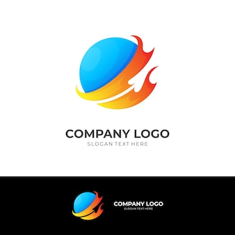 Fire and planet logo concept with 3d blue and orange color style