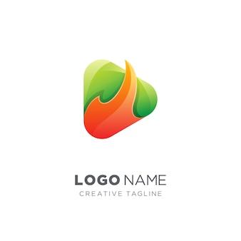 Fire play icon медиа логотип
