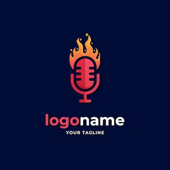Fire podcast logo gradient style
