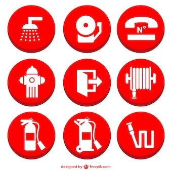 Fire prevention icons set