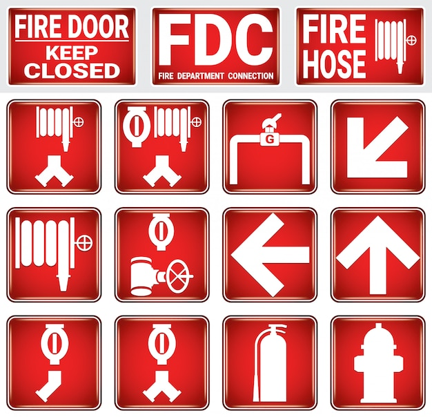Fire protection sign set .