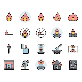 Fire related icon and symbol set