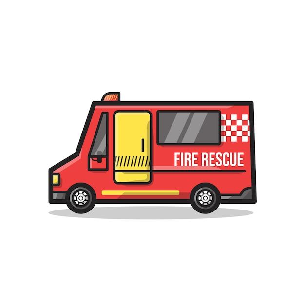 Fire rescue department vehicle in unique minimalist line art illustration