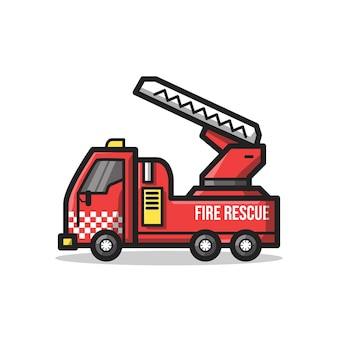 Fire rescue department vehicle with stair in unique minimalist line art illustration