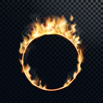 Fire ring realistic burning fiery circus circle of fire flame