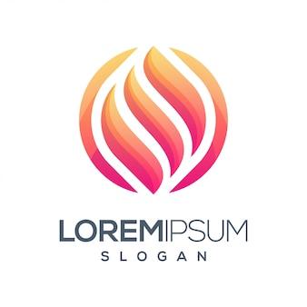 Fire round gradient color logo