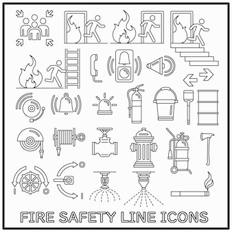 Fire safety line icons set
