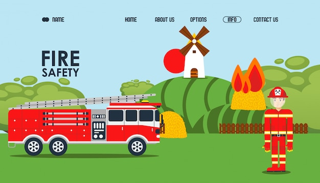 Fire safety online webpage,  illustration. fire service official site, fireman in protective jacket near car. haystack burn