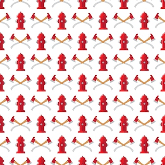 Fire safety seamless pattern. vector fire hydrant and axes