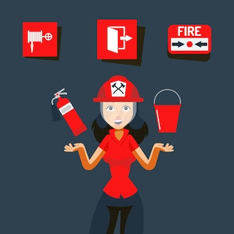 Fire safety sign  illustration. image for help during emergency, flame indoors. girl in helmet show fire extinguisher