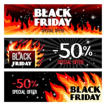 Fire sale banners.hot offers for black friday,   illustration