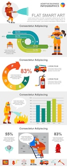 Fire service and statistics concept infographic charts set