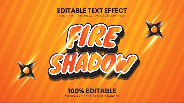 Редактируемый текстовый эффект огненной тени